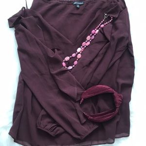 NWOT burgandy dark purple top cold shoulder